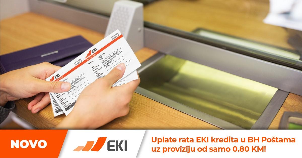 Uplate rata EKI kredita u BH Poštama uz proviziju od samo 0.80 KM!