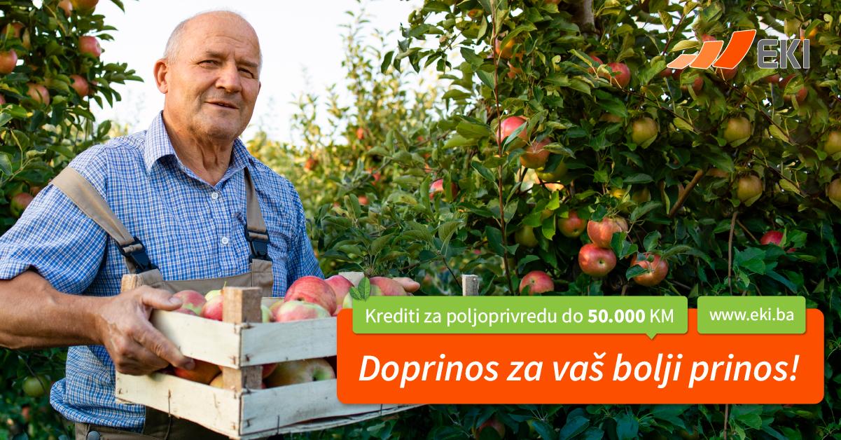 EKI Krediti za poljoprivredu do 50.000 KM - Doprinos za vaš bolji prinos!