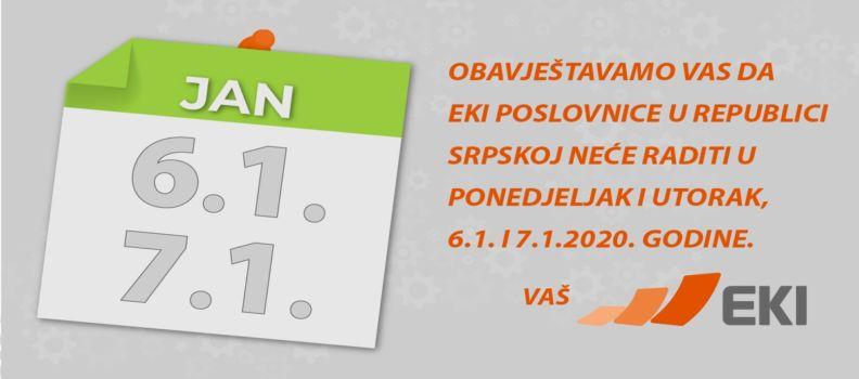 Neradni dani 6. i 7.1.2020.