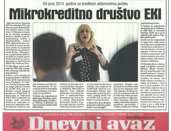 Dnevni Avaz: Mikrokreditno društvo EKI