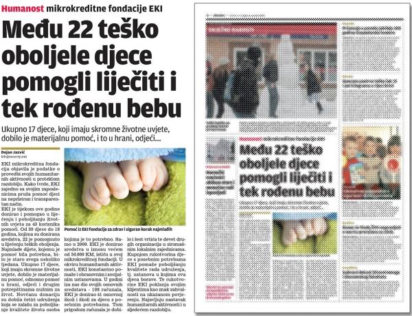 Večernji list: Među 22 teško oboljele djece pomogli liječiti i tek rođenu bebu