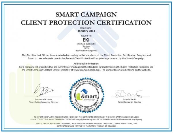 EKI – Dobitnik sertifikata za zaštitu klijenata