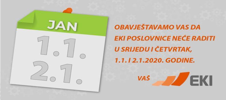 Neradni dani 1. i 2.1.2020.