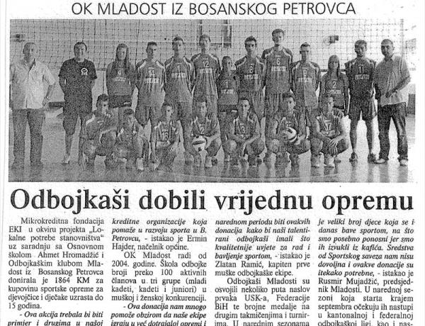 Unsko-sanske novine: Odbojkaši dobili vrijednu opremu