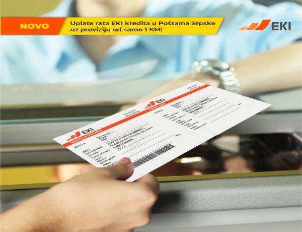 More favorable commissions for payment of EKI loan installments in Pošte Srpske!